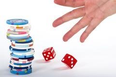 Dobbel en de Spaanders van het Casino Royalty-vrije Stock Foto's