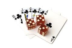 Dobbel en kaarten Royalty-vrije Stock Afbeeldingen
