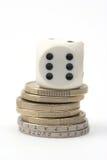 Dobbel en muntstukken Royalty-vrije Stock Afbeelding