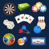 Dobbel, in het nauw drijf, casinospelen, kaarten en ander populair vermaak Drie kleurenpictogrammen op kartonmarkeringen royalty-vrije illustratie