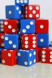 Dobbel het willekeurige rode blauw van het spelspel Royalty-vrije Stock Foto