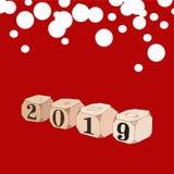 Dobbel met nummer 2019 op rode achtergrond Concept, tijd als roulette stock illustratie