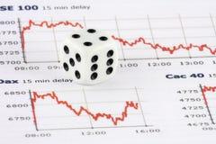 Dobbel op financiële indexgrafiek Royalty-vrije Stock Afbeeldingen