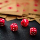 Dobbel pook gokkend op een close-up van de casinolijst Royalty-vrije Stock Fotografie