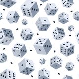 Dobbel vectorpatroon De naadloze achtergrond met beeld van dobbelt Illustraties voor spelclub of casino stock illustratie