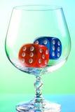 Dobbelt in cognacglas Stock Foto