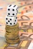 Dobbelt en euro geld Royalty-vrije Stock Foto