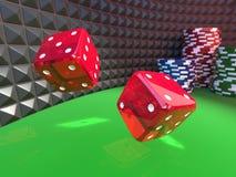 Dobbelt op een casinolijst Stock Fotografie