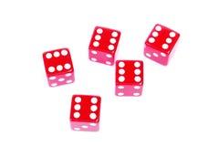 Dobbelt rood plastiek vijf geïsoleerd$ tonen sixes Royalty-vrije Stock Afbeelding