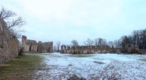 Dobele Castle ruins in winter. Dobele Castle is a castle in the town of Dobele on the west bank of the river, in the historical region of Zemgale, in Latvia Royalty Free Stock Photography