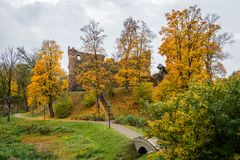 Dobele. Latvia. Autumn landscape with medieval castle ruins and. River Stock Photos