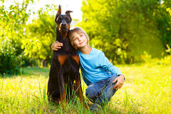 Το αγόρι αγκαλιάζει το αγαπημένο σκυλί του ή doberman το καλοκαίρι Στοκ φωτογραφίες με δικαίωμα ελεύθερης χρήσης