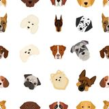 Doberman, Dalmatian, Dachshund, Spitz, Stafford and other breeds of dogs.Muzzle of the breed of dogs set collection. Icons in cartoon style vector symbol stock Royalty Free Stock Photos