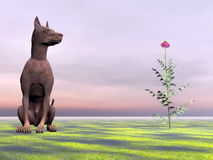 Doberman dog next to beautiful flower - 3D render Stock Image