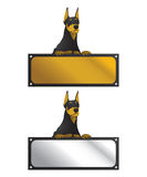 Doberman With Horizontal Sign Board Royalty Free Stock Photos