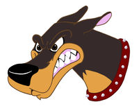 Doberman Pinscher Guard Dog. Hand drawn,computer colored cartoon image of growling doberman Royalty Free Stock Photo