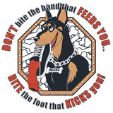 Doberman t-shirt design. T-shirt design of a doberman with a shoe in his mouth and ironic saying. Available in vector EPS format Stock Image