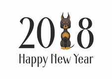 Doberman terrier pinscher. The dog is a symbol of the new 2018 in the Chinese calendar. Vector image of a cute purebred dog in cartoon style Stock Photos