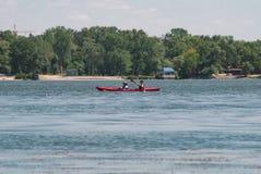 Dobierać do pary w czerwonym kajaku, kayaking na Zaporoskim pojęcie wioślarstwo, zdjęcia stock