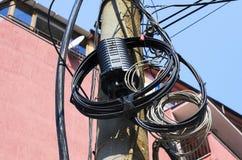 Dobierać się dla złączonych komunikacja optyczna kabli Fotografia Royalty Free