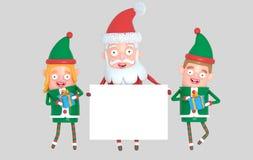 Dobiera się elfa i Święty Mikołaj trzyma białego plakat ilustracja 3 d ilustracja wektor