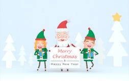 Dobiera się elfa i Święty Mikołaj trzyma białego plakat w lasu secie ilustracja 3 d royalty ilustracja
