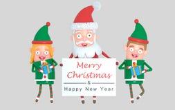 Dobiera się elfa i Święty Mikołaj trzyma powitanie plakat ilustracja 3 d royalty ilustracja