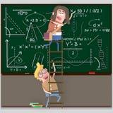 Dobiera się uczni na drabinowym writing na chalkboard 3d royalty ilustracja