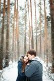 Dobiera się w miłości ma zabawę w zima lesie Fotografia Royalty Free
