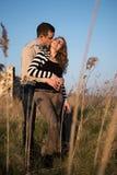 Dobiera się w miłości na zaręczynowym dniu w naturalnym parku obrazy royalty free