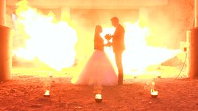 Dobiera się z makeup dla Halloween przy przyjęciem, ogromny ogień pali w pobliżu zbiory wideo