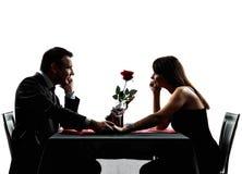 Dobiera się kochanków datuje obiadowe sylwetki Zdjęcie Stock