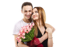 dobiera się z bukietem tulipany, valentines dnia temat Fotografia Stock