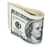 Doblado cientos billetes de dólar aislados en blanco Fotografía de archivo