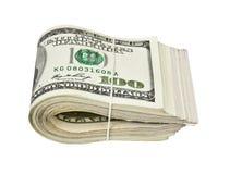 Doblado cientos billetes de dólar aislados en blanco Imagen de archivo