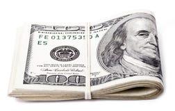 Doblado 100 cuentas de US$ Imagenes de archivo