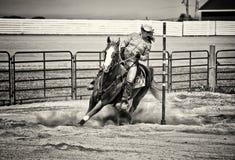 Doblador occidental de poste del caballo en sepia arenosa Fotos de archivo libres de regalías