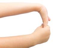 Doblando el músculo a mano para cure el syndrom de la oficina en backg aislado Imagenes de archivo