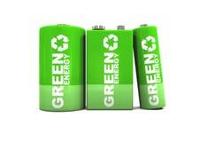 A doble, C y baterías verdes de la energía de 9 voltios Imagen de archivo