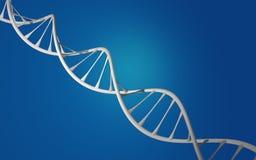 Doble hélice blanco de la DNA en fondo azul Imágenes de archivo libres de regalías