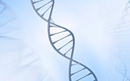 Doble hélice de la DNA, metal con el fondo blanco y azul Imágenes de archivo libres de regalías