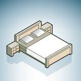 Doble la cama de la talla con Nightstands ilustración del vector