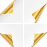 Dobleces de la esquina de papel del oro Fotografía de archivo libre de regalías