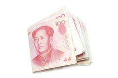 Doblez de 100 cuentas de Yuan  Imagenes de archivo