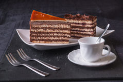 Dobos Cake. Sweet Cakes ready to serve Royalty Free Stock Images