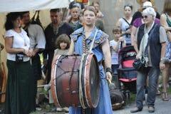 Dobosz przy Średniowiecznym festiwalem, Nuremberg 2013 Zdjęcie Royalty Free