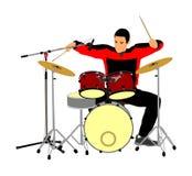 Dobosza gracza bębenu wektor Rock and roll zespołu artysty wektoru ilustracja Muzyk sztuka bębni na scenie ilustracji