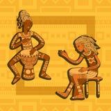 dobosze afryki Perkusja gracze muzyka plemienna ilustracja wektor