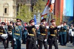 Dobosze Moskwa militarna muzyczna szkoła w placu czerwonym podczas Ogólnej próby parada dedykowali rocznicę th Zdjęcie Stock