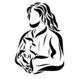 Dobra baca Jezus trzyma baranka w jego rękach ilustracja wektor